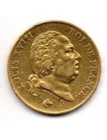 40 Francs Or - Louis XVIII - Buste Nu
