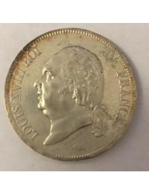 5 Francs Argent - Louis XVIII - Buste nu