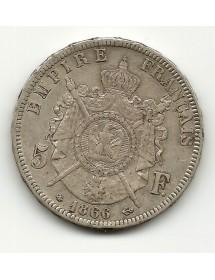 5 Francs Napoleon III T Laurée - 1866 A
